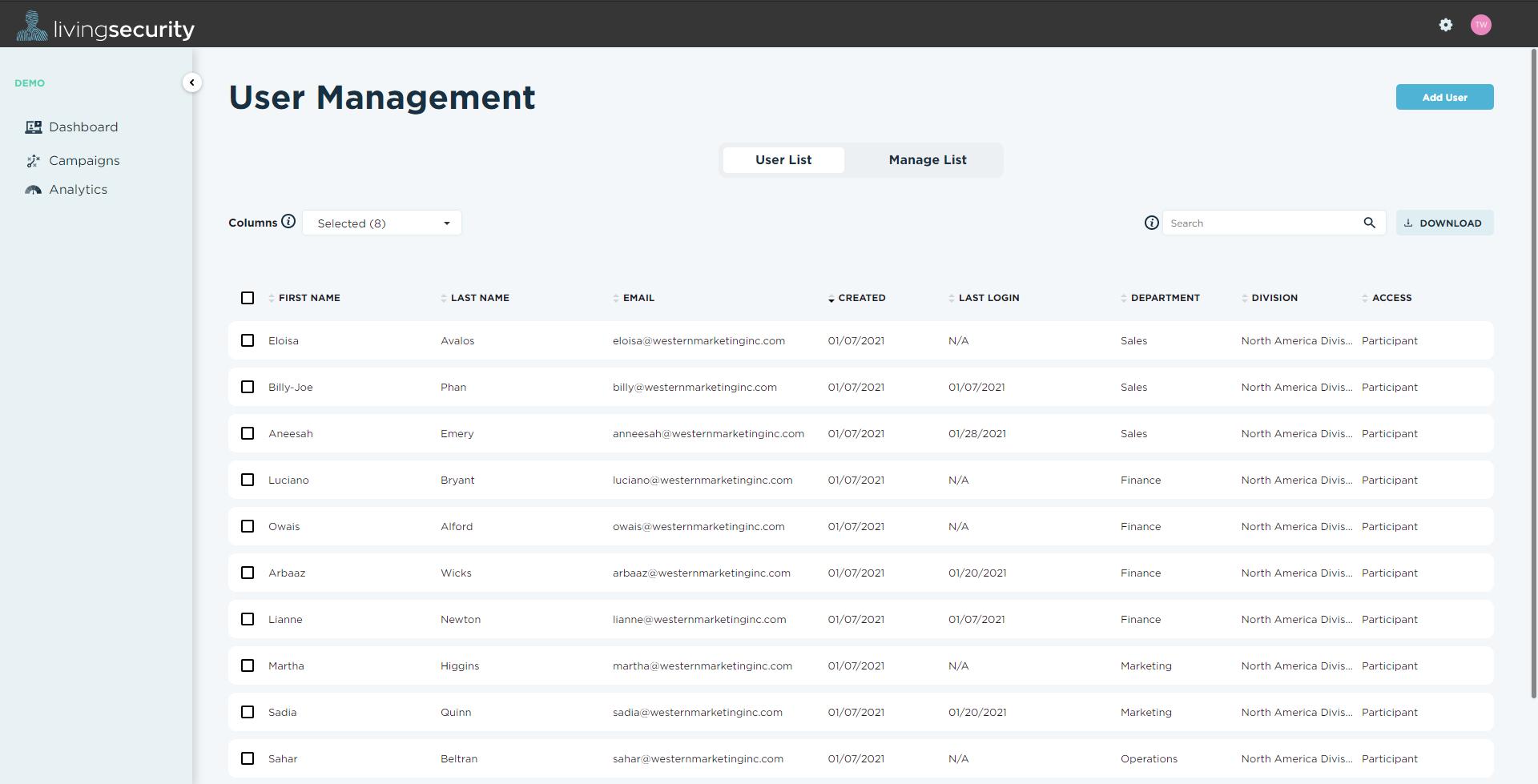 User Management screenshot